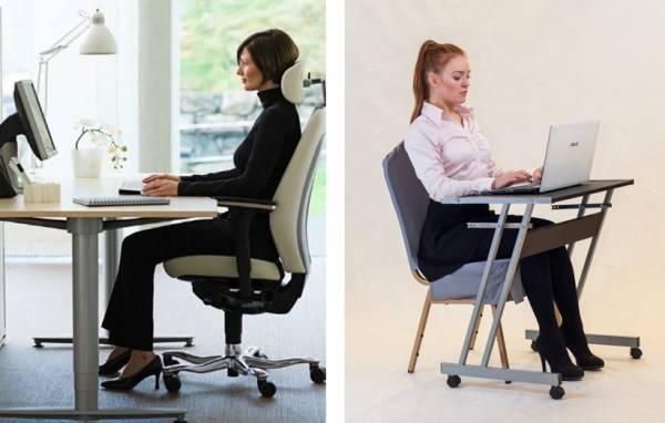 فرم بدنی مناسب پشت میز کار